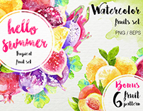 Watercolor fruit set
