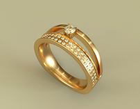 Golden ring. Jewelry. Gold. Brilliants