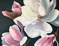 Magnolia Blooms (Acrylic Painting)