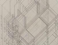 Axonometric Cube Hand Drawing