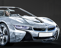 Geometric BMW i8 | Low-poly Magazine Illustration