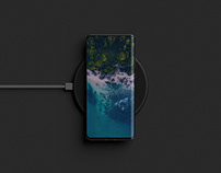 Smartphone on a Wireless Charger Mockup