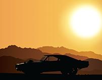 Car in desert mountains made in illustrator.