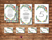 Hand drawn floral wreath for wedding invitation