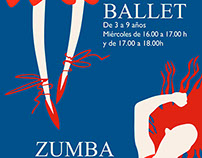 Poster for ballet and zumba classes