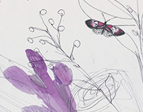 Butterfly and orchid mixed media illustration.