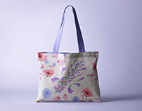 Floral illustration pattern for Bag design