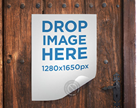 Mockup of a Poster Taped to an Old Vintage Wooden Door