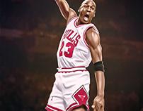 """Michael Jordan """"Dunk"""" Digital Painting by Wayne Flint"""