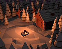 Low Poly Cabin in the Woods