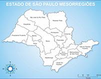Mapa Estado de São Paulo Mesorregiões - Contorno