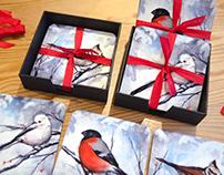 Winter bird coasters