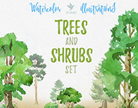 Watercolor Trees and shrubs set