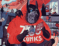 "poster for ""Zoo Comics"" Comicbookstore, Bergen, Norwege"