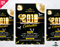 New Year 2018 Party Flyer Free PSD