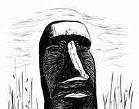 Digital sketch of a moai statue