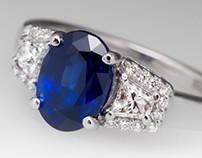 2.4 Carat Dark Blue Sapphire Ring