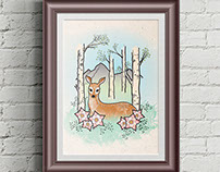 Deer Woodland Illustration