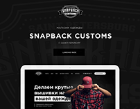 Landing page for Store Clothing Snapback Customs