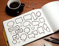 Speech bubbles doodle set.