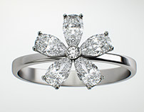"""Ring visualization. Collection """"Flower"""" brand """"Mercury"""""""