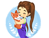 Girl and corgi