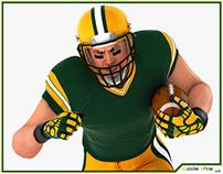 3D Model: White American Football Player HQ 004