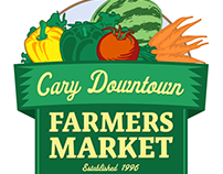 Cary Farmers Market Logo and various signage