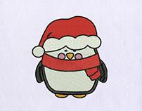 Cute Christmas Penguin Embroidery Design