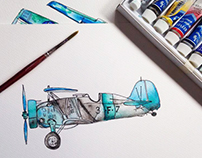 Watercolor Airplanes