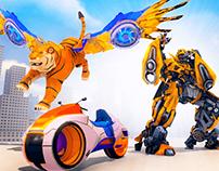 Lion Robot Bike Transforming Games