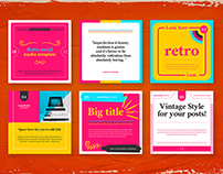 Retro Social Media Pack Templates