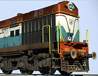 Indian locomotive class WDM-2 : 3d model & Texture