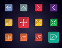 Arrows and User Interface Flat Line Icons | iOS Android