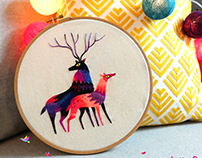 "Embroidery ""deer and doe"""
