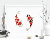 Koi Fish Watercolor Illustration