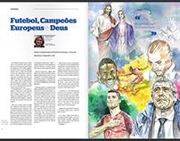 """Ilustração """" Futebol, Campeões Europeus e Deus"""""""