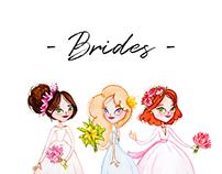Brides. Watercolor illustration
