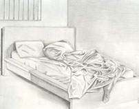 """FND 110 OBSERVATIONAL DRAWING """"Messy Bed"""""""