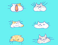 Line stickers: Lazy fat cats