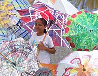 Umbrella Painting W'shop by Likhawat, New Delhi, India.