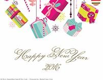 Distinctive New Year Greeting Card 2016