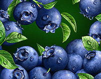 Illustrations of fruits and berries.