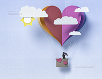 paper balloon and sky with sun and clouds , valentine's