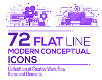 Set of Modern Flat Line Purple Color Conceptual icons o