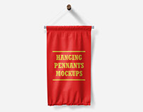 Hanging Wall Flag Pennants Mockups