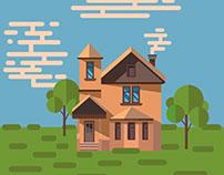 Cartoon vector flat house. Background illustration.