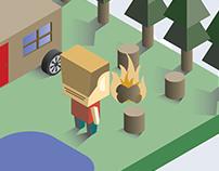 Isometric Camping Illustration