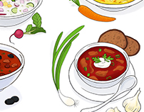 New book illustrations. Typical food of Russia and Asia