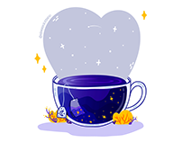 Universe Tea Bag Illustration